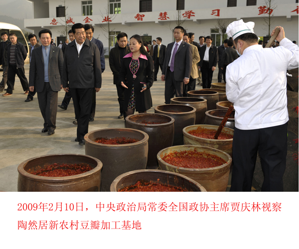 贾庆林视察18新利手机客户端居新农村豆瓣加工基地