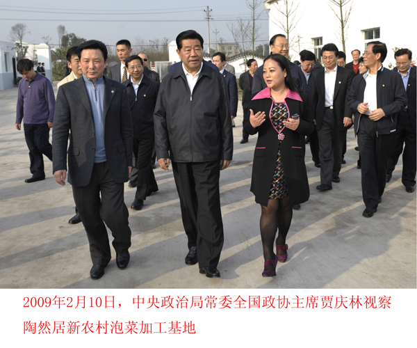 贾庆林视察18新利手机客户端居新农村泡菜加工基地